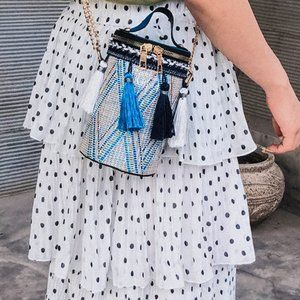 Staycation Blue Tassle cylinder bucket bag purse